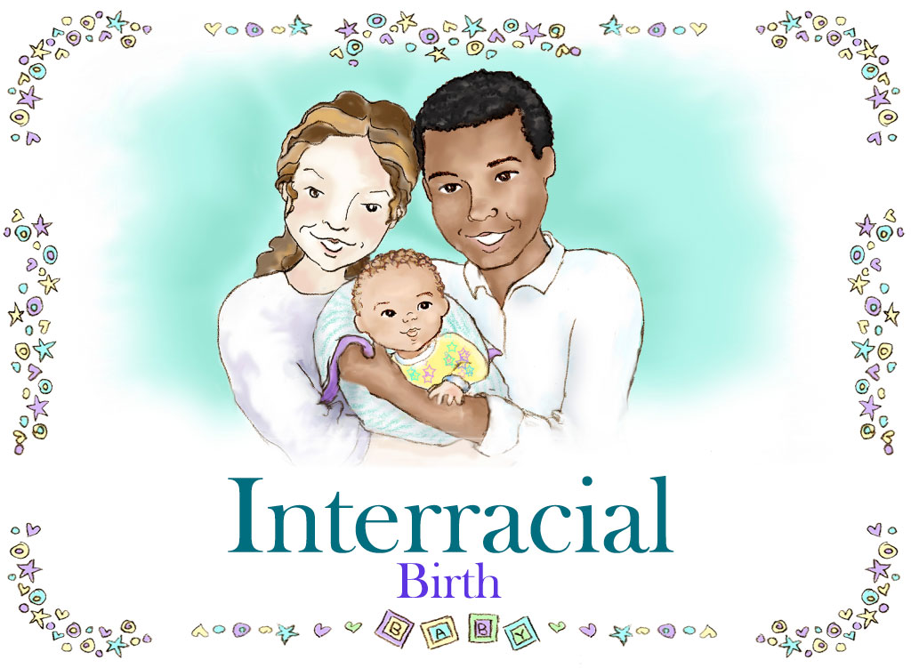 Interracial Family Caucasian Mom African American Dad Personalized Baby Book